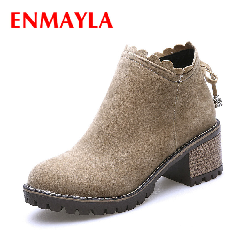 ENMAYLA New Ladies Ruffles Ankle Boots Women Round Toe Chunky Heels Bow Shoes Woman Casual Platform Short Martin Boots enmayla autumn winter chelsea ankle boots for women faux suede square toe high heels shoes woman chunky heels boots khaki black