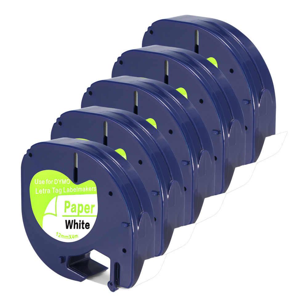 5 uds DYMO compatible Letra papel de etiqueta cinta negro sobre blanco 12mm * 4m para 91200