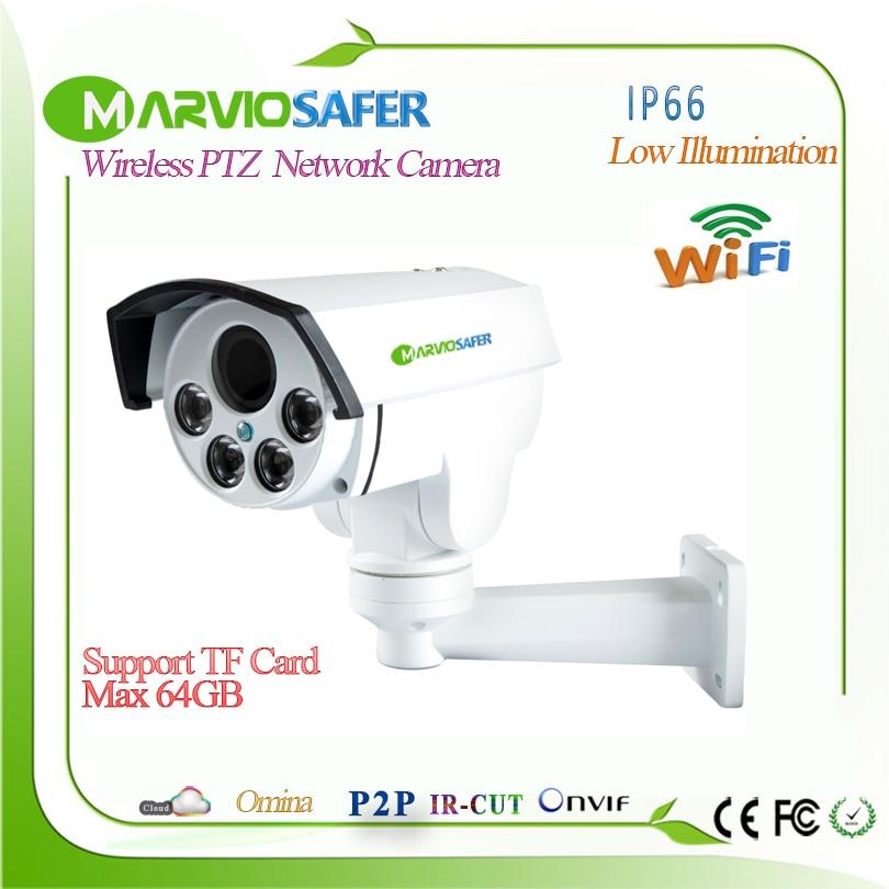 Marviosafer 1080P Full HD Good IR Night Vision CCTV wi-fi PTZ Network IP Camera Cam Wireless Camara, TF Slot 4X Motorized Lens