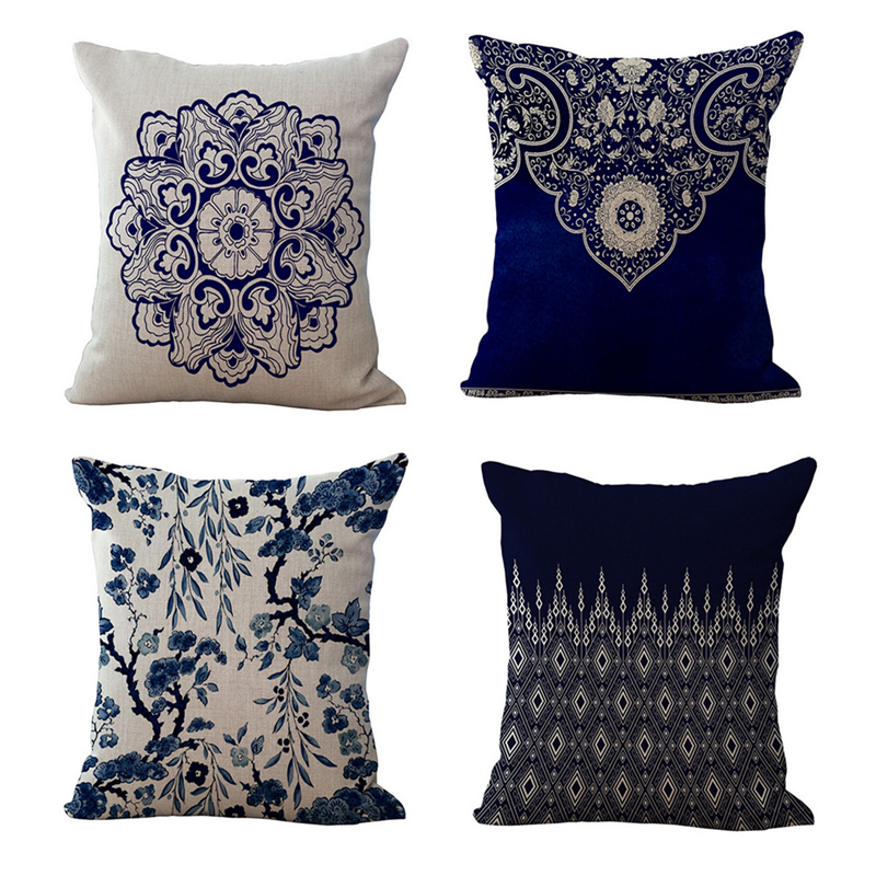 10 Patterns Cotton Linen Cushion Pillow Cover Bohemian Style Home Decorative Blend Cushions Chair Square Size 45cmX45cm