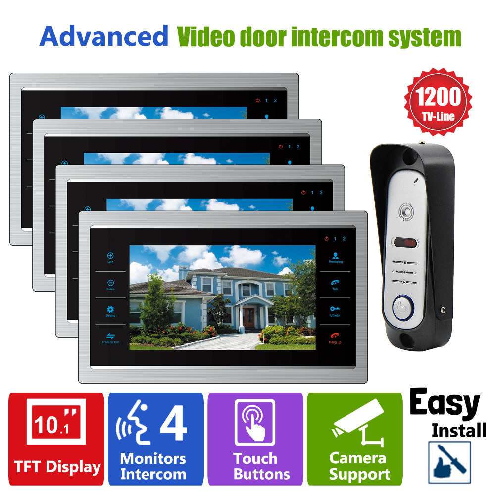 YSECU 10 Inch  Peephole Video Door Phone Doorbell LCD Monitor  IR Camera Night View 110 Wide Angle SD card (Not Included) 1V2