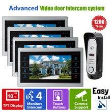 Homefong 10 Pulgadas Video de La Puerta Del Timbre Del Teléfono LCD Monitor IR Cámara de Visión Nocturna 90 Gran Angular tarjeta SD (no Incluido) 1V2