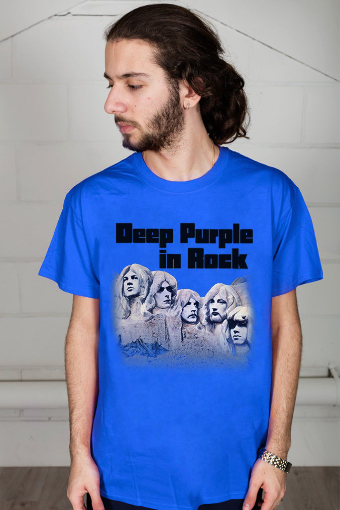 Gildan Deep Purple In Rock Unisex T-Shirt Hush Japan Fireball Black Night Band