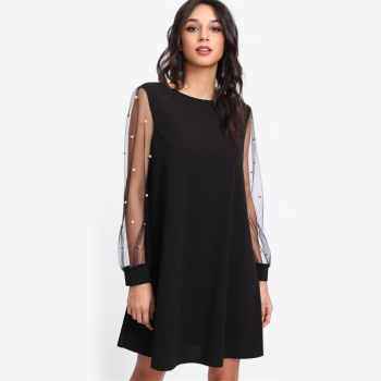 Black A-line tunic boho dress