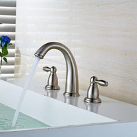 Solid Brass Construction Hot And Cold 8 Widespread Basin Faucet Bathroom Sink Tap Three Holes Sink