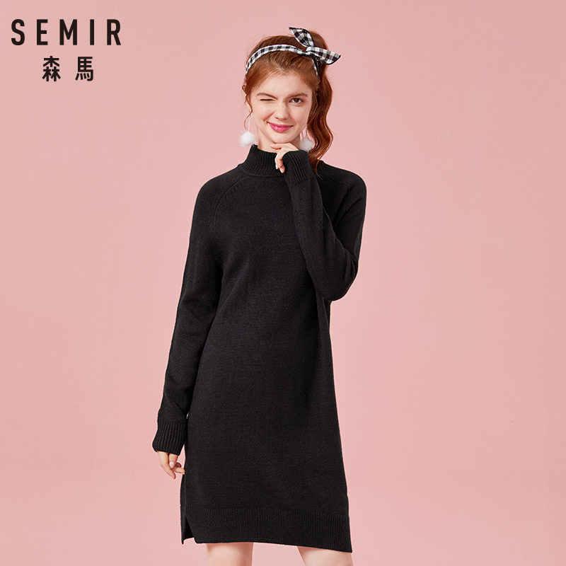 Jersey de punto de mezcla de lana con cuello de tortuga para mujer de SEMIR, vestido acanalado de punto con mangas largas de raglán con aberturas en el dobladillo