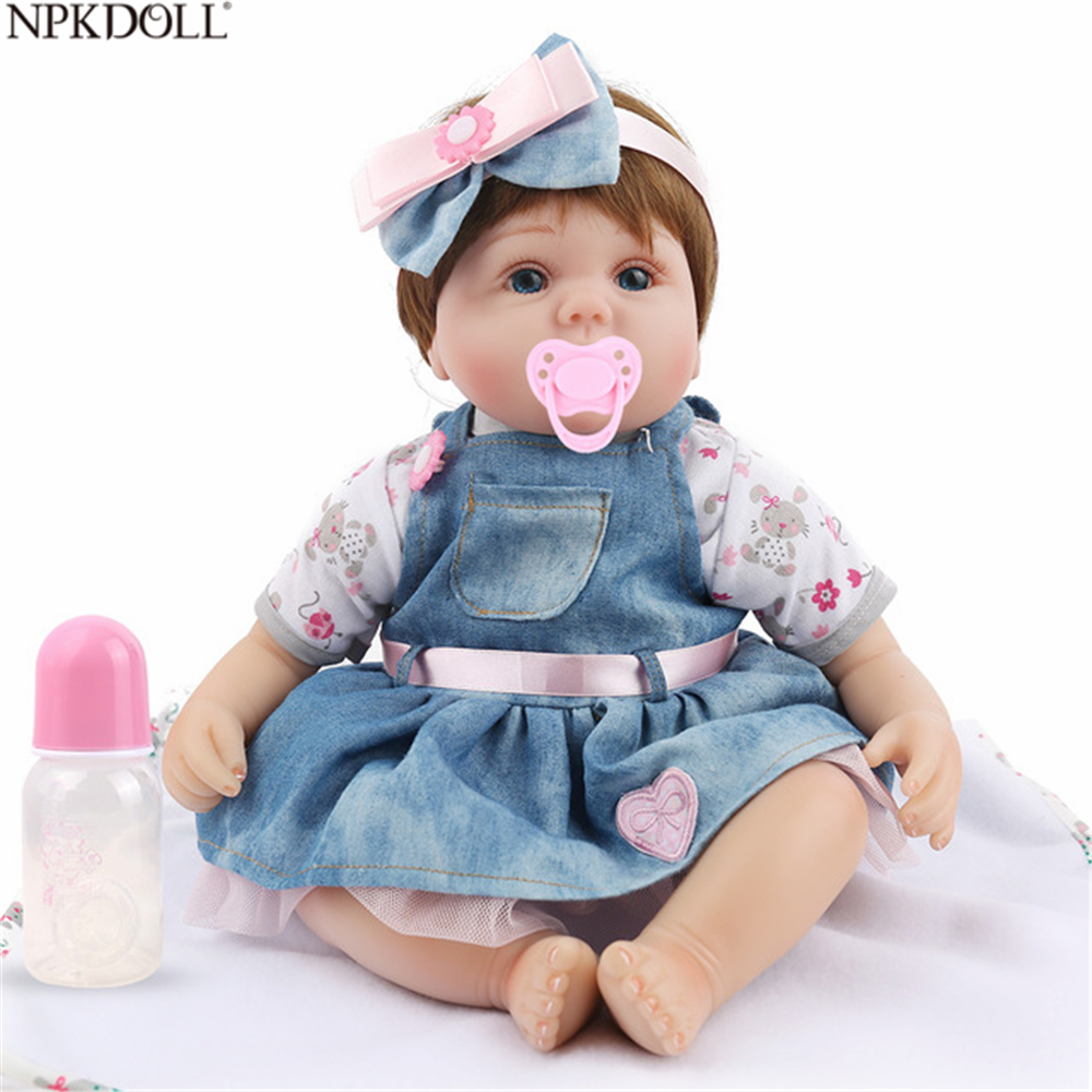 NPKDOLL 16inch 40cm Reborn Doll Baby Toys For Girls Soft Silicone Dolls Babies Lifelike Baby Girl