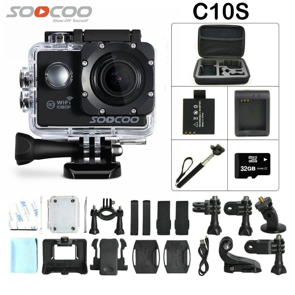 SOOCOO C10S Sports Camera with Wifi Full-HD 1080p 12MP 2.0 LCD 170 Degree Wide Lens Waterproof camera Mini DV modern art decor stainless steel plating led crystal wall light lamp bedroom home wall sconce lighting free shipping
