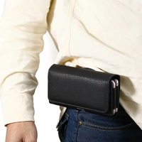 Horizontal Man Strap Belt Clip Dual Mobile Phone Leather Case Card Pouch For Lenovo A Plus