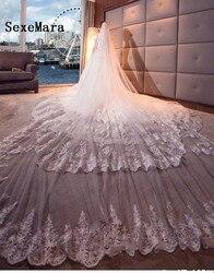 Luxe Kathedraal Lange Wedding Veils Twee Layer Lace Geappliceerd Veil Met Gratis Kam Romantische Bruidssluier Wit Ivoor