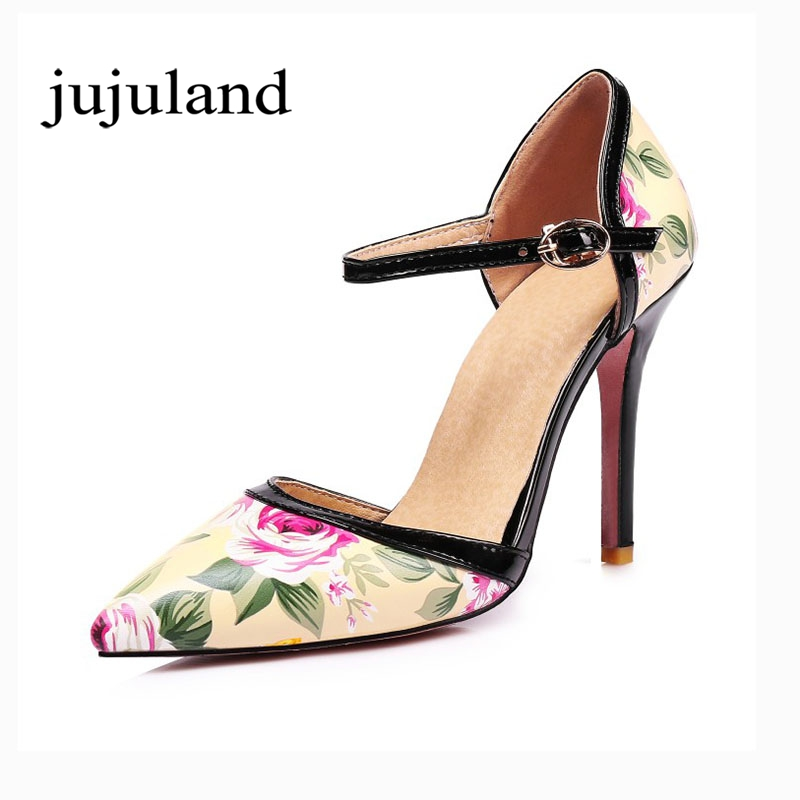 Women Spring/Autumn Big Size Shoes Pumps Party Fashion Shallow Printing Pointed Toe Buckle Strap Thin High Heels Flower vallkin size 34 43 white buckle strap round toe women pump square high heels solid autumn spring lady party shoes