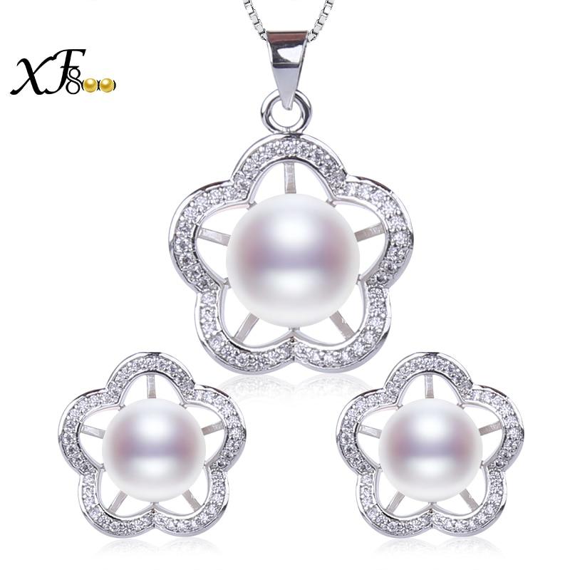 Aktiv [xf800] Natürliche Perle Schmuck-set Natürliche Süßwasser Perle Halskette Anhänger Ohrringe Blume Form Hochzeit Engagement Geschenk T224 Verkaufsrabatt 50-70%