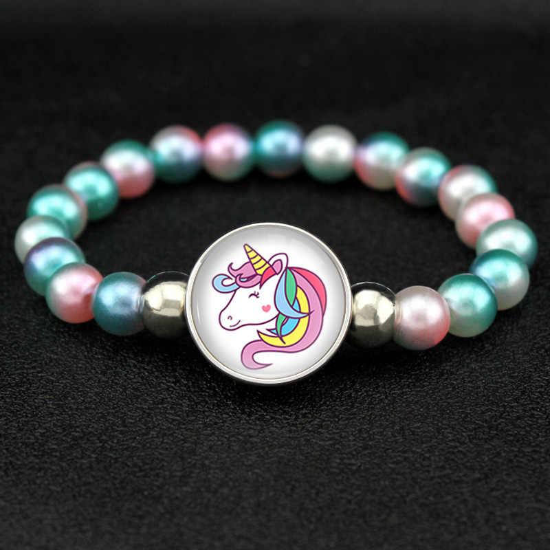 Jednorożec koraliki bransoletki 18mm przystawki przyciski Dome Cabochon flamingi Charms Trendy bransoletki dziewczyny kobiety chłopiec biżuteria prezent