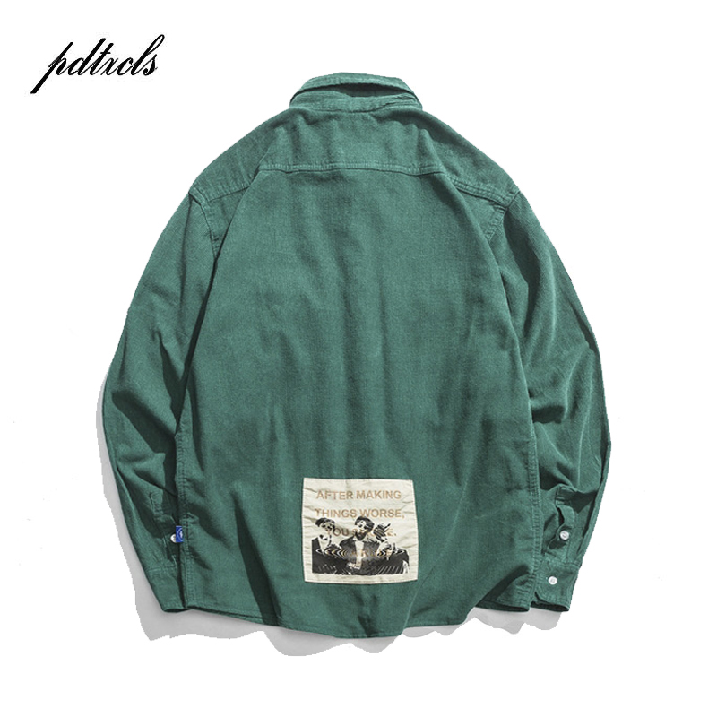 New Autumn Pattern Patchwork Long Sleeve Shirts Japanese Style Washed Overcoat Fashionable Mens Simple Cargo Pockets Corduroy