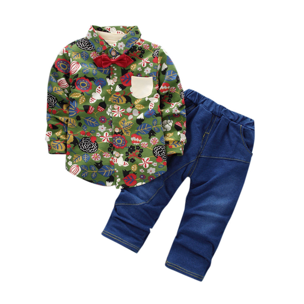 Newest Children's Clothing  Toddler Kids Baby Boy Outfits Floral Printing Shirt Tops+Denim Pants Clothes Set 30 newborn toddler girls summer t shirt skirt clothing set kids baby girl denim tops shirt tutu skirts party 3pcs outfits set