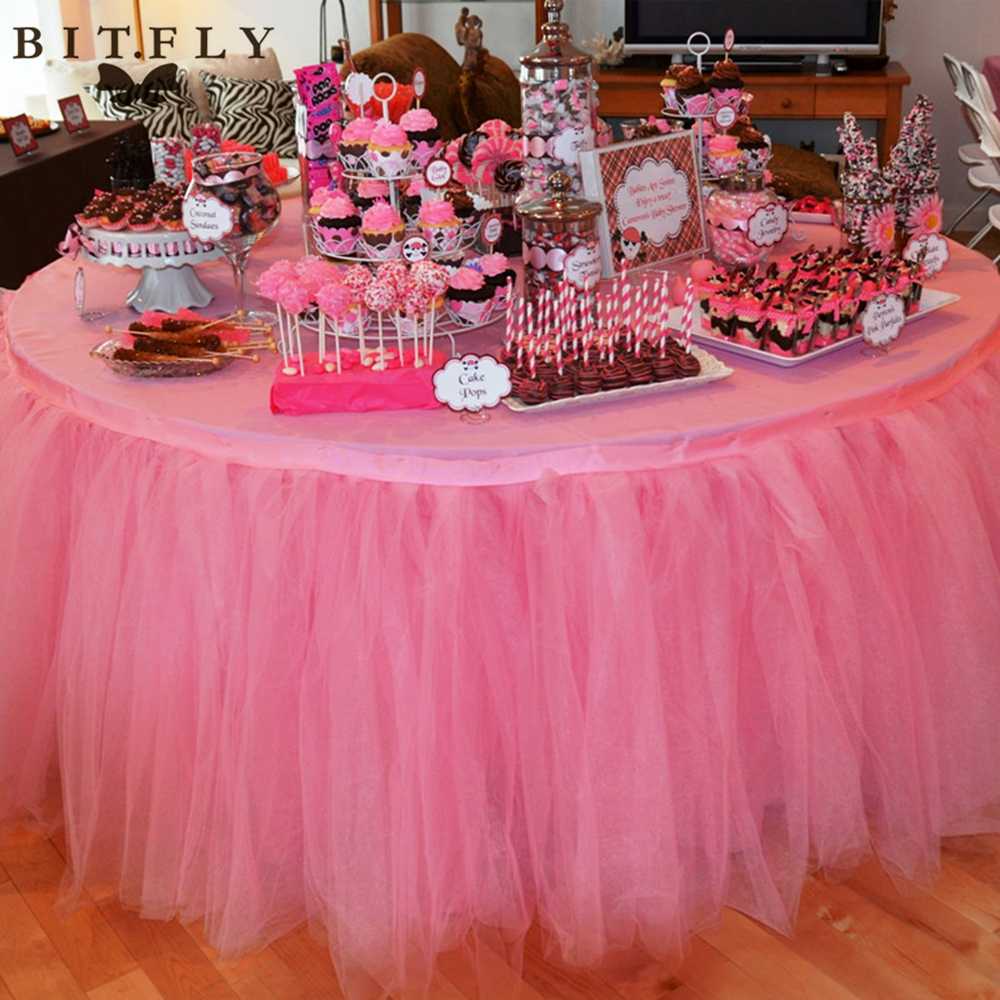 100*100cm Christmas Decor 100% Polyester Tulle Table Skirt For Wedding Birthday Baby Bridal Showers Parties Tutu Party Supplies