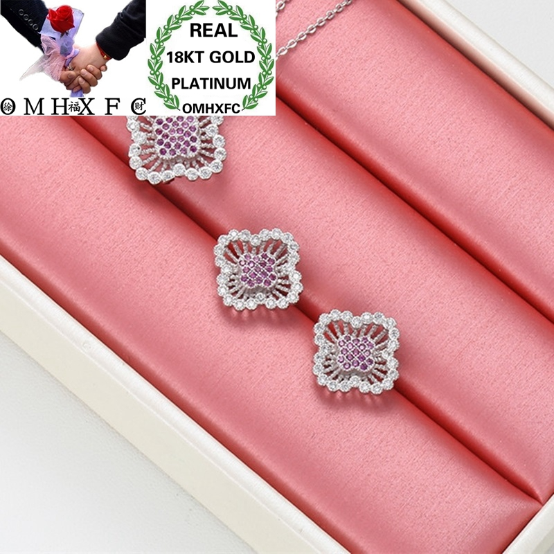 OMHXFC Wholesale European Fashion Woman Girl Wedding Gift Vintage Zircon 18KT White Gold Necklace+Stud Earrings Jewelry Set ET06