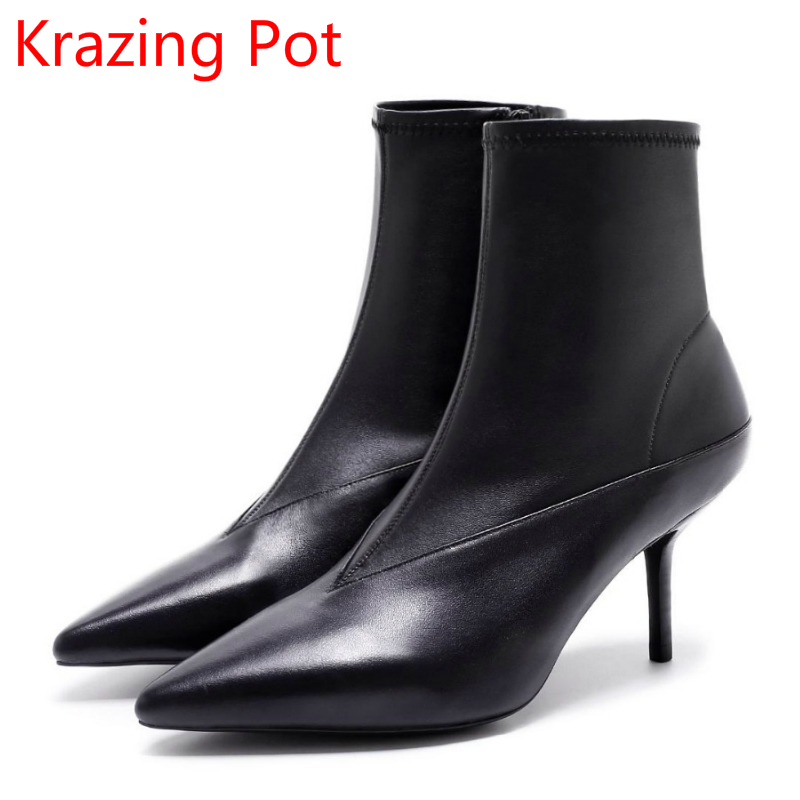 2018 New Arrival Fashion Winter Shoe Genuine Leather Pointed Toe High Heel Handmade Party Runway Zipper Women Mid-Calf Boots L11 2018 new arrival fashion winter shoe genuine leather pointed toe high heel handmade party runway zipper women mid calf boots l11