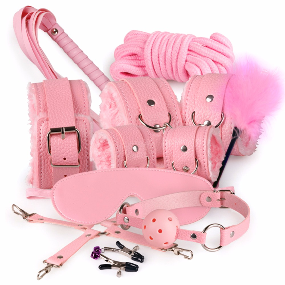 10 Pcs/set Sexy Lingerie PU Leather Sex Handcuffs Bdsm Bondage Set Footcuff Gag Whip Rope Blindfold Erotic Sex Toys For Adults