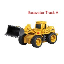 Teknik Mini RC Truk Excavator Remote Control Model Traktor 4-Channel Bulldozer Crane Truck Mainan Remote Control(China)