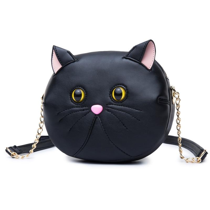 ФОТО 2017 new summer black messenger bag girls small cat shoulder bag chain bag cute cat bag female