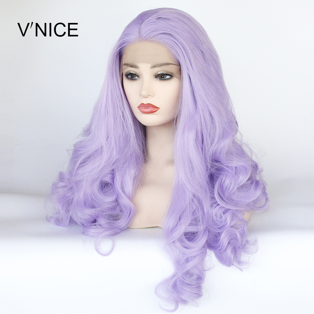 V NICE Middle Part Natural Long Body Wavy Violet Purple Wig High Temperature Fiber Synthetic Lace