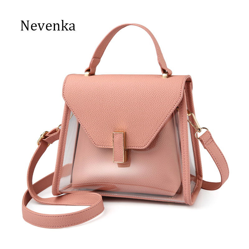 NEVENKA New Fashion Shoulder bag Women Casual solid Handbag Transparent Tote Female Evening Strap Bags Lady Messenger Bags Sac 2017 new clutch steam punk female satchel handbag gothic women messenger bags shoulder bag bolsa shoulder bags tote bag clutches