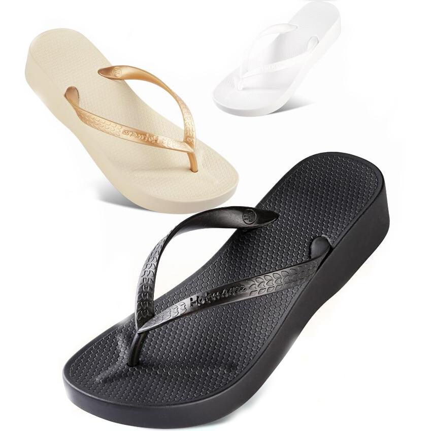 Beach Shoes Seaside Thick Slope Black Flip Flops Women Soft Wearing Feet And Fingers Outside Casual Flip Flops Sandals