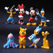Disney Animation Anime Alça 8 Mickey Minnie Pato Donald Pooh Urso Estatueta Decoração Do Bolo(China)