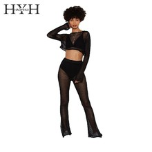HYH Haoyihui 2019 New Arrival Sexy Pure Color Autumn Knit See-through Collar Short Midriff Super Long Sleeve Sweater For Women