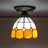 Mediterranean Style Pendant Light Stained Glass Ceiling Lamp Surface Mounted Tiffany Balcony Lamps For Cloakroom Aisle Stairs