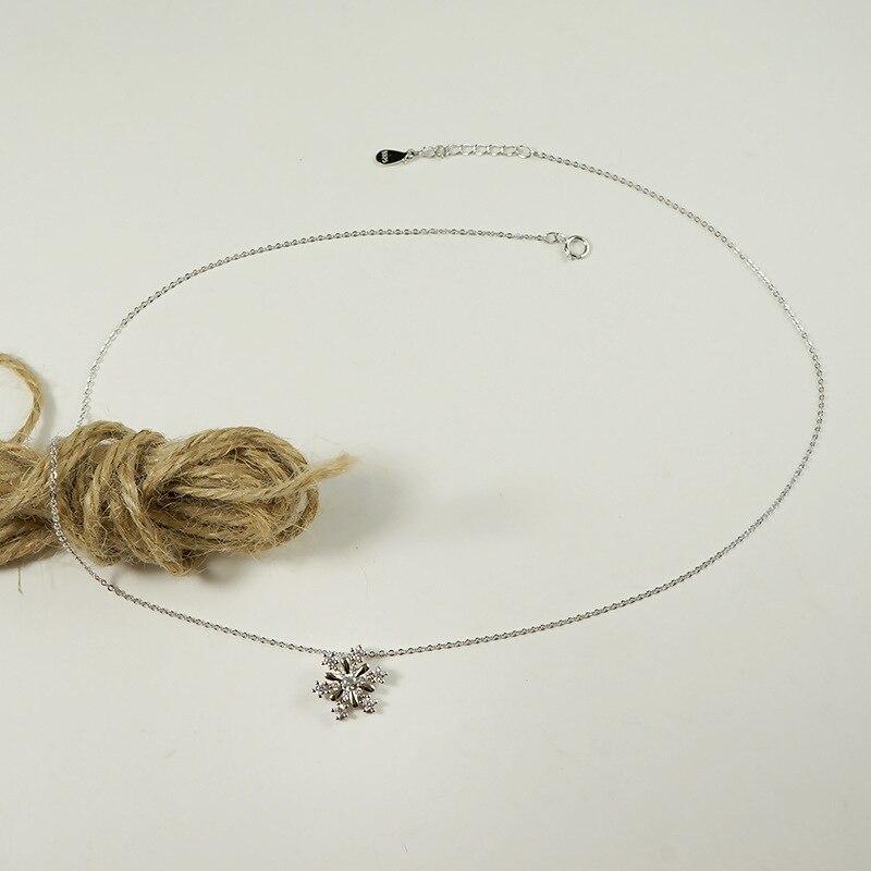 ZTUNG LOP2 femmes bijoux fins, collier en argent 925, un beau pendentif en forme de flocon de neige pour jeune fille
