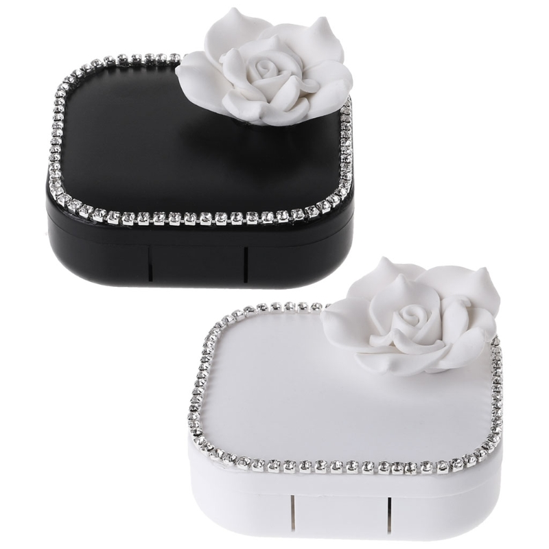 Contact Lens Box Flower Travel Portable Case High End Mirror Storage Container