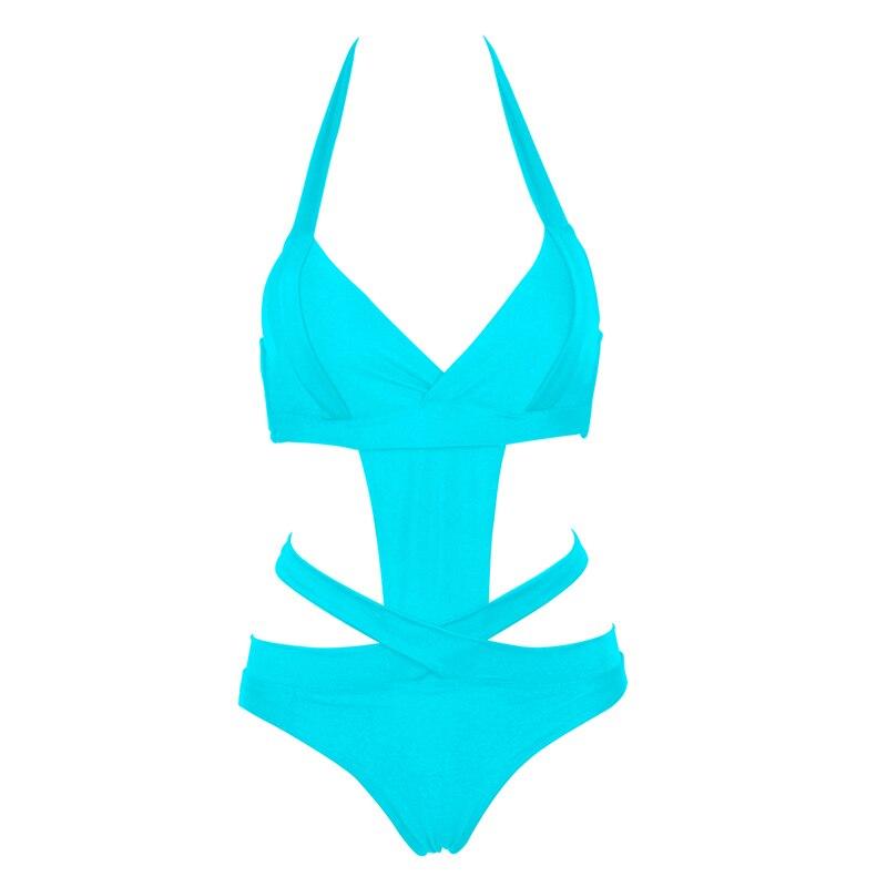 NAKIAEOI 2018 Europe Sexy One Piece Swimsuit Plus Size Swimwear Women Bandage Monokini Swimsuit Bathing Suit Swim Wear Black XXL 3