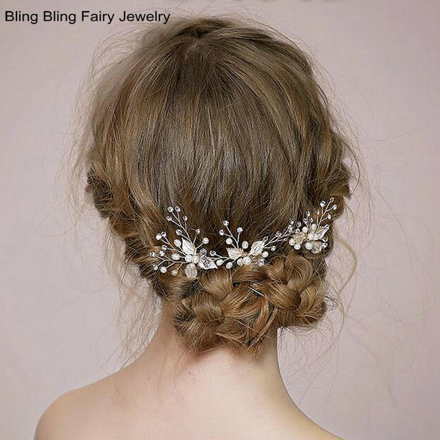 ( 3 piece ) Delicate Handmade Crystal Pearl Clover Bridal Wedding Hair Accessories, Free Shipping