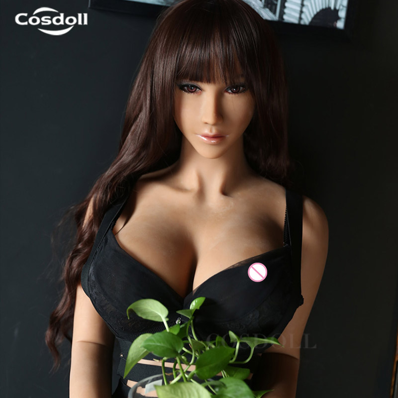 Cosdoll 158cm/165cm Lifelike Brown Skin TPE Silicone Sex Doll with Metal Skeleton Real Big Boobs Love Doll for Men Masturbation