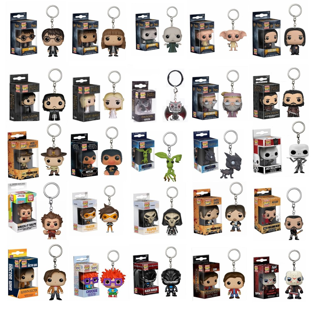 Funko Pop Keychain Action Toy Figures Game Of thrones Harri Potter Fantastic Beasts Pocket Keychains Model Doll Collectible Toys