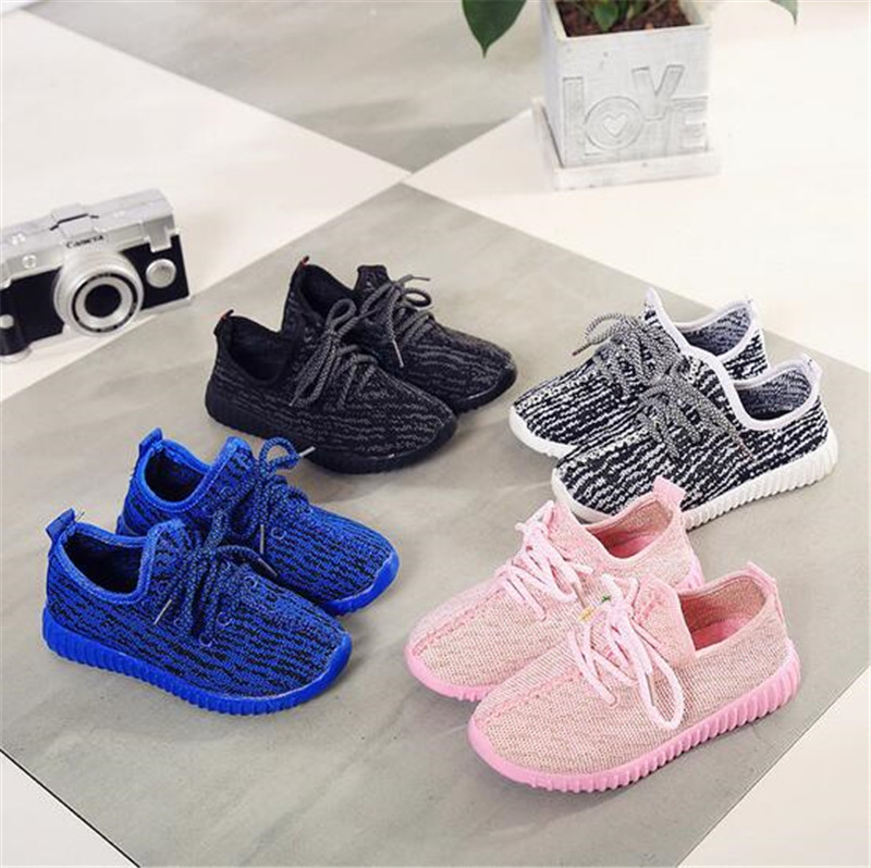2017 Fashion Kids Breathable Sports Shoes Children Casual Boys Girls Lace-up Shoes Rubber bottom Sneakers