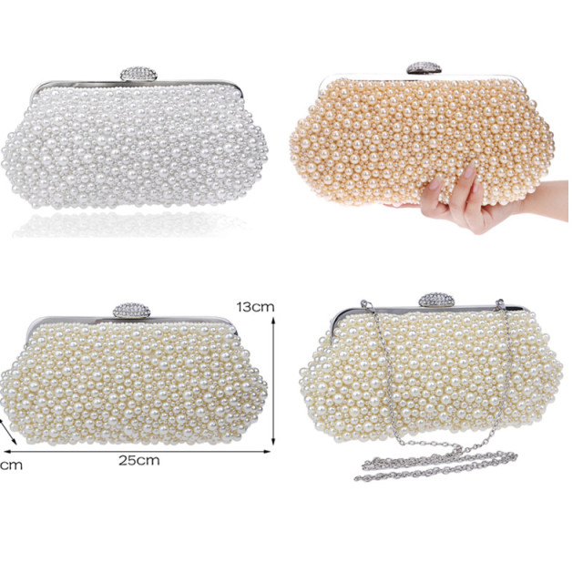 Vintage imitation pearl shell beaded clutches bags