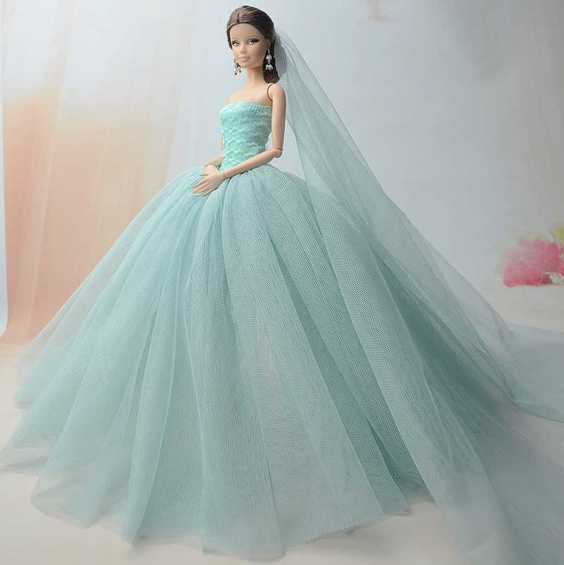 ... Doll Dresses High quality Handmade Long Tail Evening Gown Clothes Lace  Wedding Dress +Veil For ... d7eb4420f21c