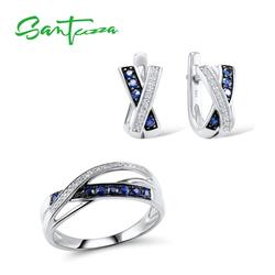 SANTUZZA Silver Jewelry Sets for Women Blue White Cubic Zirconia Ring Earrings Set Pure 925 Sterling Silver Fashion Jewelry Set