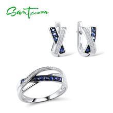 SANTUZZA gümüş takı seti kadınlar için parlak kübik zirkon yüzük küpe seti 925 ayar gümüş düğün Band moda takı