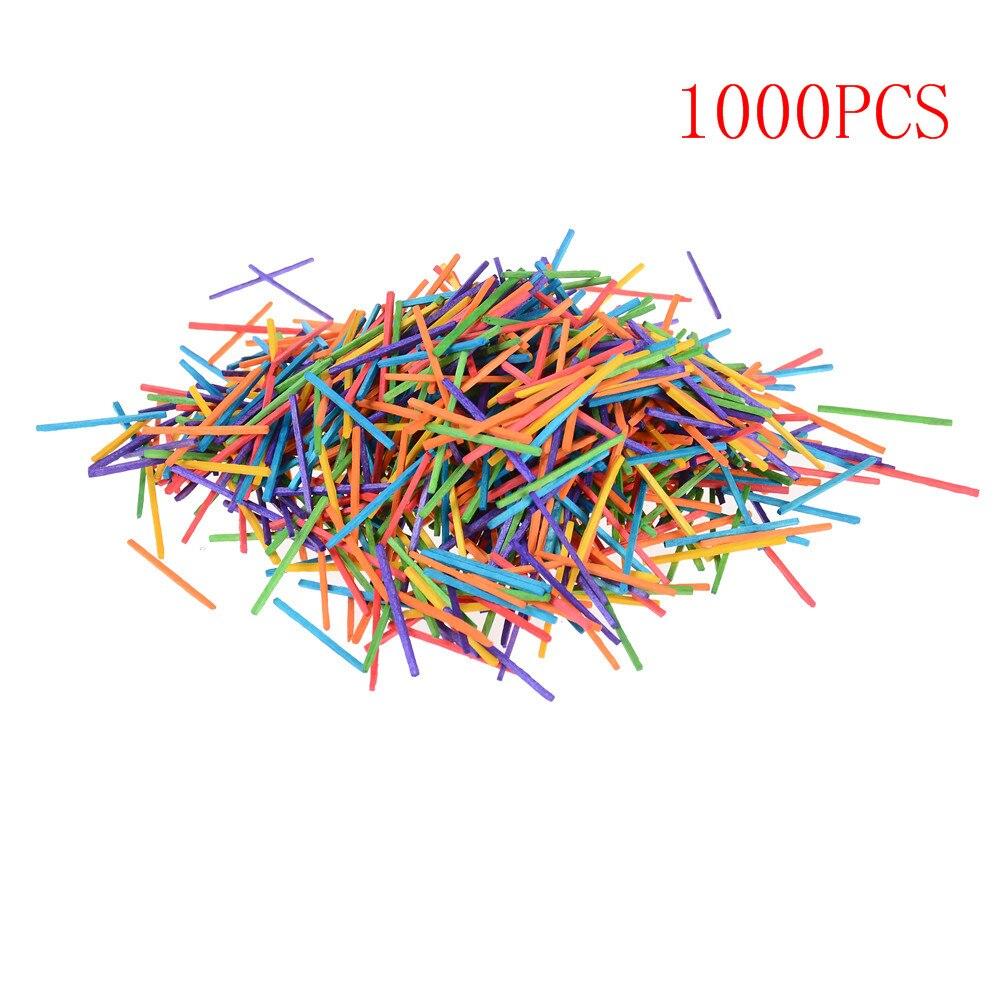 1000 Wooden Matchsticks DIY Matchsticks Rainbow Colour Match Sticks Mini Craft Sticks for kids toys