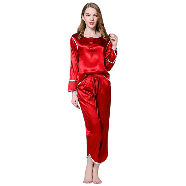 Autumn Silk Satin Couples Pajamas Sets Men Women Long Sleeve Sleepwear Home  wear Nightshirt Elastic Lace 649f1c120