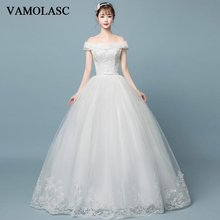 VAMOLASC Pearls Boat Neck Lace Appliques Ball Gown Wedding Dresses Off The Shoulder Bow Sash Backless Bridal Gowns