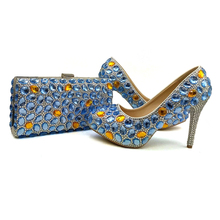 Blue Wedding Party Shoes Rhinestone Bridal Shoes with Clutch Anniversary Ceremony Shoes Cinderella Prom Pumps with Matching Bag