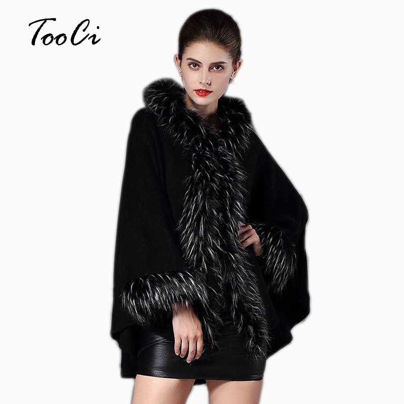 High Quality Hooded Coat Women Warm Faux Fur Coat Long Knitted Poncho Cape Cloak Wool Cashmere
