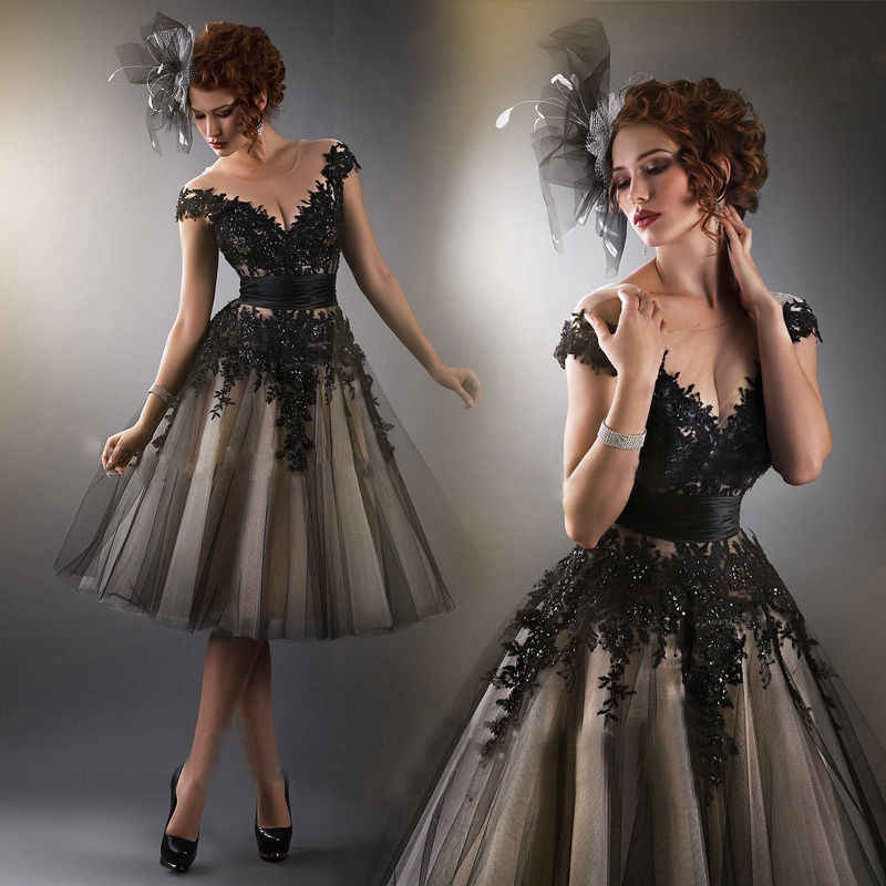 Generous 2019 Elegant Ball Evening Gown Cap sleeve Appliques Black Party Evening dress for women