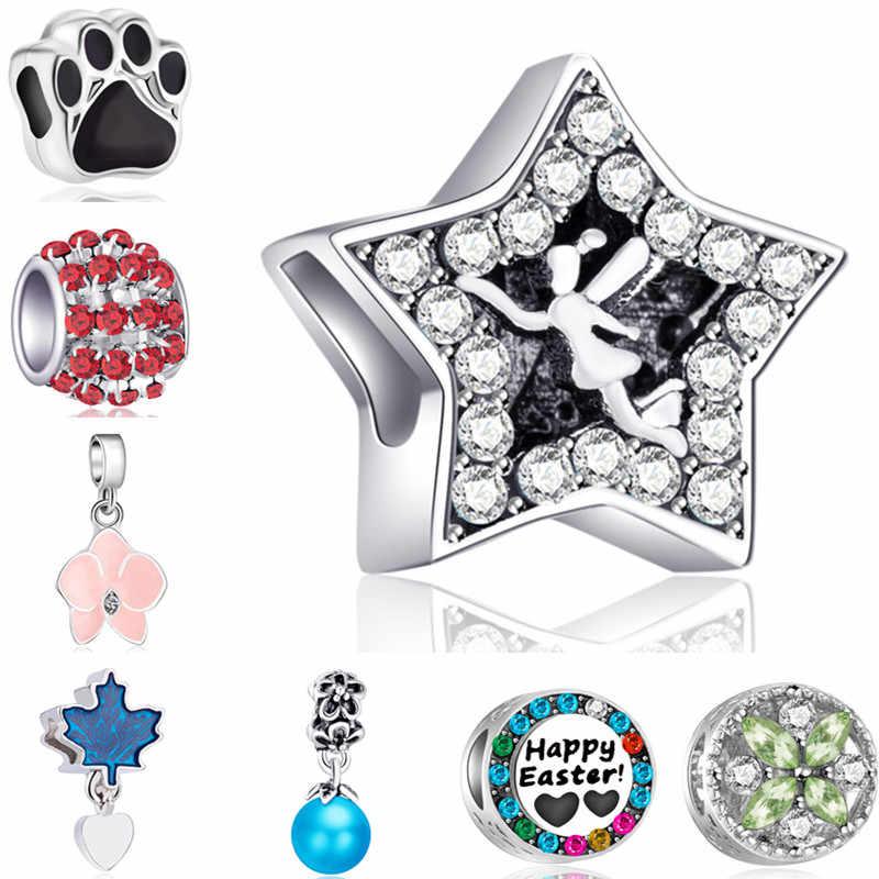 Haute qualité creux ours patte fleurs os feuille étoiles cristal perles charmes Fit Pandora Bracelets Bracelets pour les femmes bricolage Femme cadeau