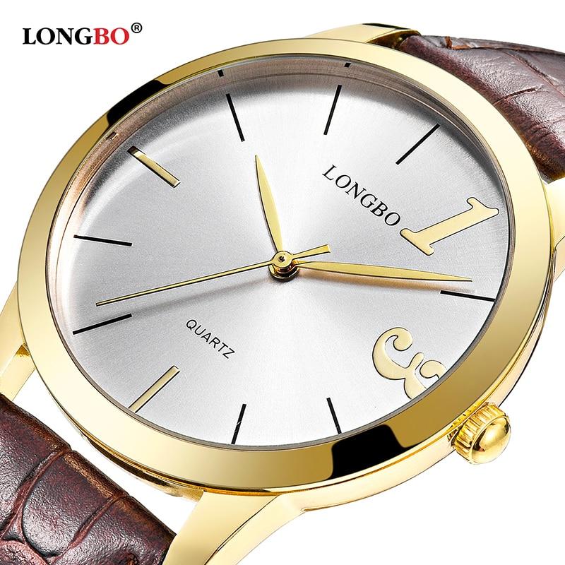 2018 Fashion Longbo Brand Luxury Quartz Watch Casual Top Quality Leather Strap Men Women Couple Sports Analog Wristwatch Gift